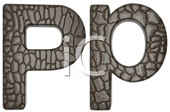 Royalty Free Clipart Image of Alligator Skin Font P Lowercase and Capital Letters
