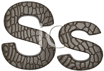 Royalty Free Clipart Image of Alligator Skin Font S Lowercase and Capital Letters