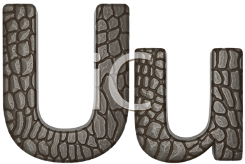 Royalty Free Clipart Image of Alligator Skin Font U Lowercase and Capital Letters