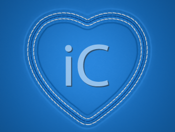 Royalty Free Photo of a Blue Stitched Leather Heart Background