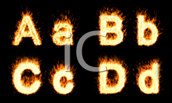 Royalty Free Clipart Image of a Burning Letter Font