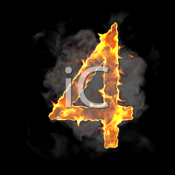 Royalty Free Clipart Image of a Burning Number Four