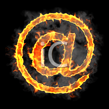 Royalty Free Clipart Image of a Burning At Symbol