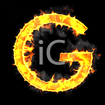 Royalty Free Clipart Image of a Burning Letter G