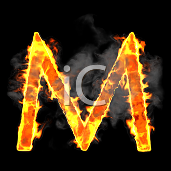 Royalty Free Clipart Image of a Burning Letter M