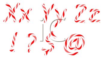 Royalty Free Clipart Image of Candy Cane Font
