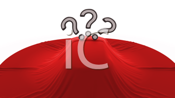 Royalty Free Clipart Image of a Car Covered With Question Marks