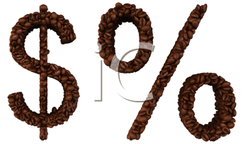 Royalty Free Clipart Image of a Dollar and Percentage Sign Made of Coffee Beans