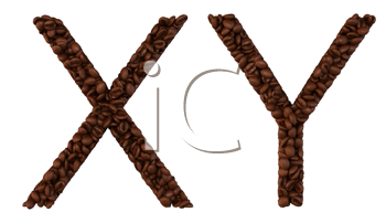 Royalty Free Clipart Image of Roasted Coffee Font X and Y