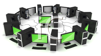 Royalty Free Clipart Image of Computers