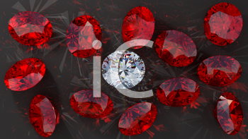 Royalty Free Clipart Image of Diamonds and Red Rubies