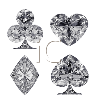 Royalty Free Clipart Image of Diamond Shaped Card Suits