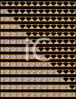 Royalty Free Clipart Image of a Diamonds Download and Upload Bars Collection