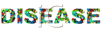 Royalty Free Clipart Image of Pills Spelling Out Disease