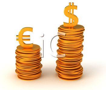 Royalty Free Clipart Image of Advantage of US Dollar Over Euro Currency