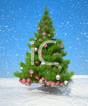 Royalty Free Clipart Image of a Christmas Tree and Presents