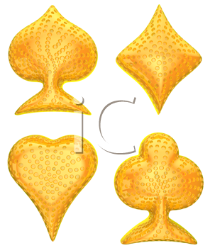 Royalty Free Clipart Image of Golden Card Suits