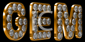 Royalty Free Clipart Image of a Golden Letters Incrusted With Diamonds Spelling Gem