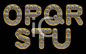 Royalty Free Clipart Image of Gold Letters Incrusted With Diamonds