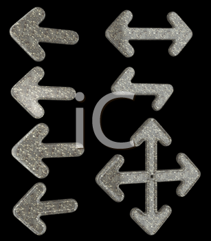 Royalty Free Clipart Image of a Set of Granite Arrows