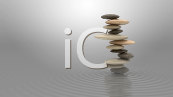 Royalty Free Clipart Image of a Pile of Pebbles on Water