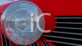 Royalty Free Clipart Image of a Headlight on a Retro Car