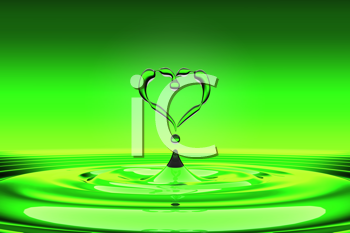 Royalty Free Clipart Image of a Heart Above Water