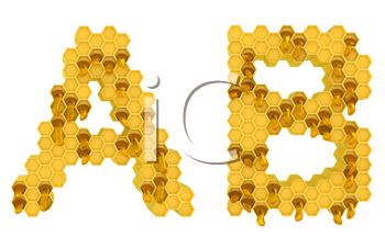Royalty Free Clipart Image of the Letters A and B in Honey