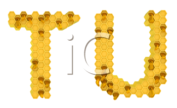 Royalty Free Clipart Image of the Letters T and U in Honey