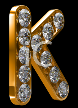 Royalty Free Clipart Image of a Golden Letter K Incrusted With Diamonds