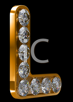 Royalty Free Clipart Image of a Golden Letter L Incrusted With Diamonds