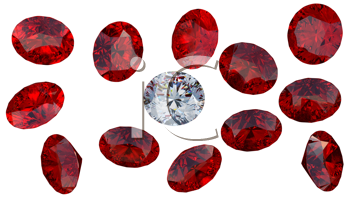 Royalty Free Clipart Image of a Diamond Among Rubies