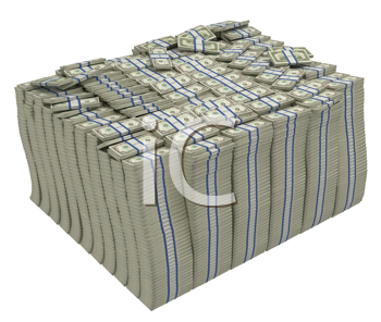 Royalty Free Clipart Image of a Bundle of American Bills