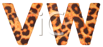 Royalty Free Clipart Image of Leopard Print V and W