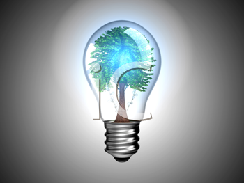 Royalty Free Clipart Image of a Tree Inside a Light Bulb