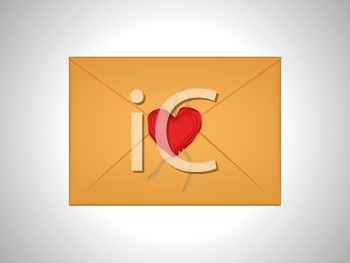 Royalty Free Clipart Image of a Heart Sealed Envelope