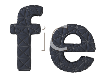 Royalty Free Clipart Image of Stitched Leather Font F and E