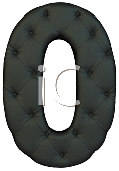 Royalty Free Clipart Image of a Black Leather Number Zero