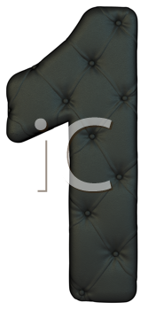 Royalty Free Clipart Image of a Black Leather Number One