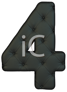 Royalty Free Clipart Image of a Black Leather Number Four