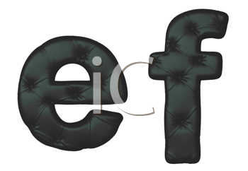 Royalty Free Clipart Image of Black Leather Font E and F