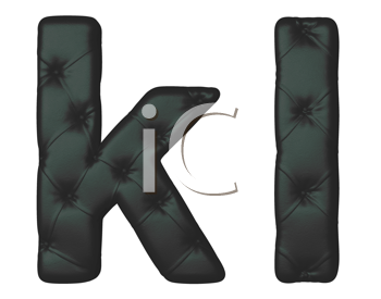 Royalty Free Clipart Image of Black Leather Font K and L