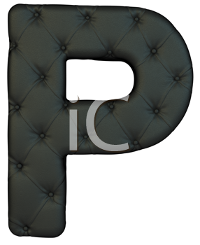Royalty Free Clipart Image of a Black Leather Font P