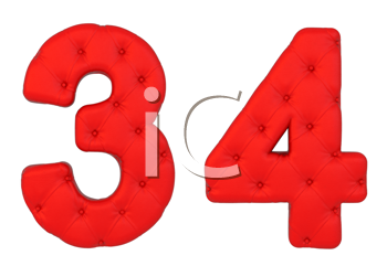 Royalty Free Clipart Image of Red Leather Numbers Three and Fours