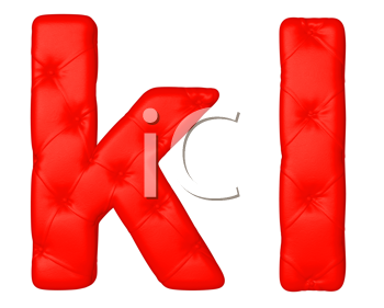 Royalty Free Clipart Image of a Red Leather Font K and L