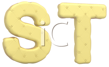 Royalty Free Clipart Image of Beige Leather Font of S and T