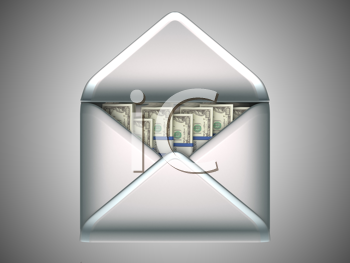 Royalty Free Clipart Image of Money in an Envelope