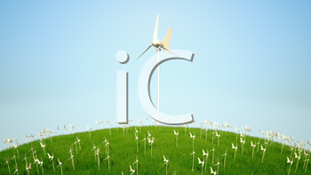 Royalty Free Clipart Image of Windmills on a Hillside
