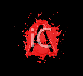 Royalty Free Clipart Image of the Letter A in Red Paint