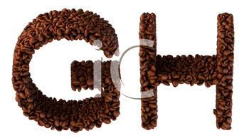 Royalty Free Clipart Image of Roasted Coffee Font G and H